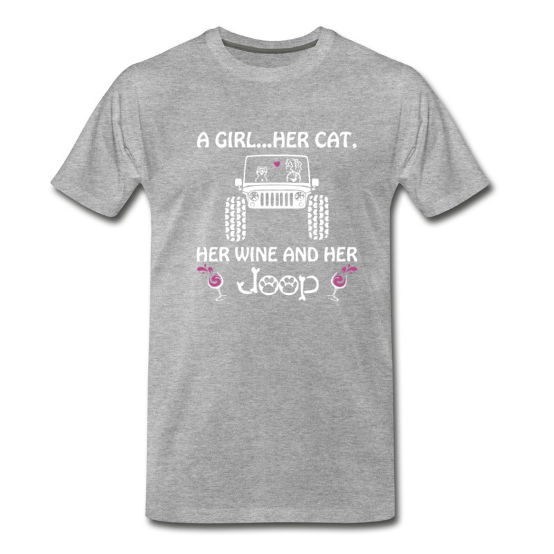 Men's A Girl Her Cat Her Wine And Her Jeep T-Shirt